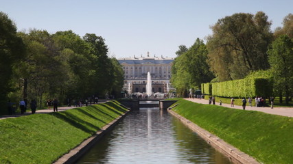 channel in middle front Royal Petrodvorets at St. Petersburg