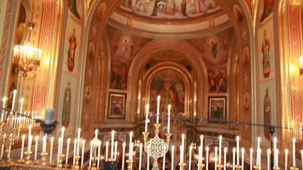 choir loft and church chandelier in Christ Savior Cathedral