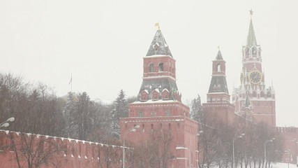Moscow Kremlin's towers under huge snowfall