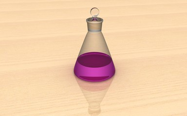 3D Conical Flask with Solution