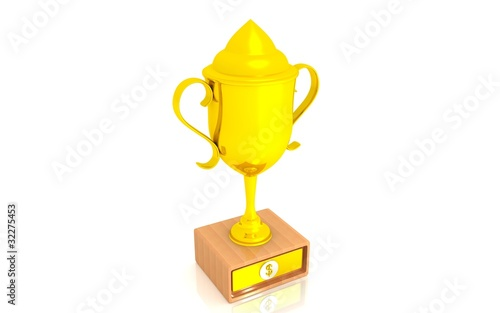 Foto op Canvas 3D gold dollar cup on a white background