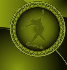 Abstract design with circle frame and skateboarder silhouette