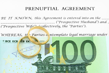 Form of prenuptial agreement with euro money and wedding rings