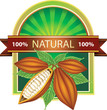 Label with cocoa beans 100% natural product