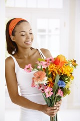 Woman getting flower