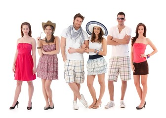 Group portrait of young people in summer clothing