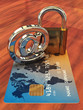 Credit card ,arobase sign and a padlock  , 3d illustration