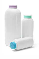 Plastic bottles of talcum powder