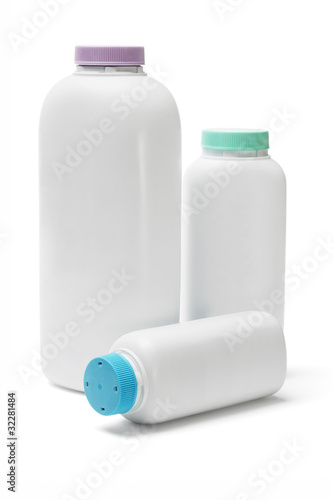 Plastic bottles of talcum powder