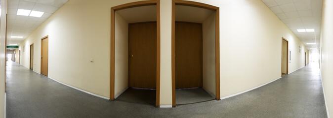 Office building corridor panorama closed doors #2