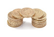 British, UK, pound coins on a plain white background.