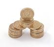 British, UK, pound coinsn on a plain white background.