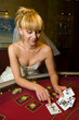 lovely bride playing cards