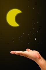 Hands on sky moon