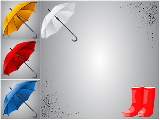Collection of umbrellas with rubber boots and spray