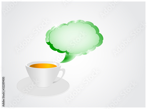 Cup of tea with sign in shape of clouds