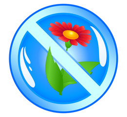Flower in prohibiting sign