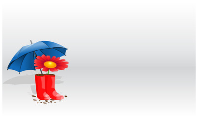 Background from flower umbrella and rubber boots