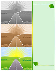 Three images of road with rising sun