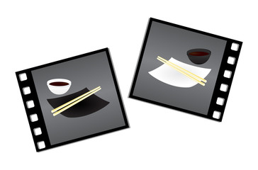 Sushi set on negatives