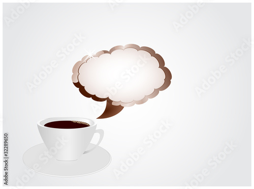 Cup of coffee with sign in shape of clouds