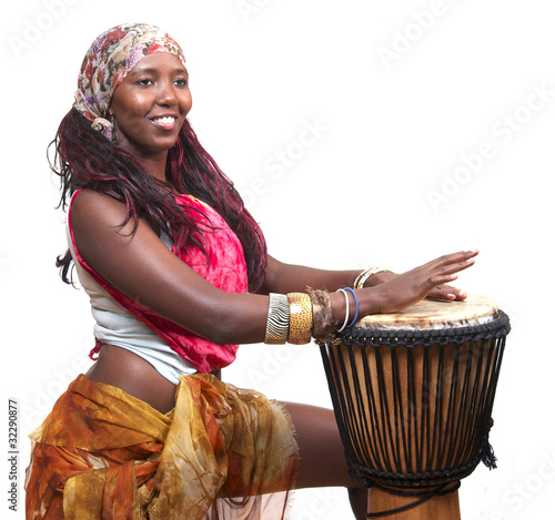 canvas print picture African Djembe Drummer