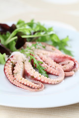 Octopus with salad