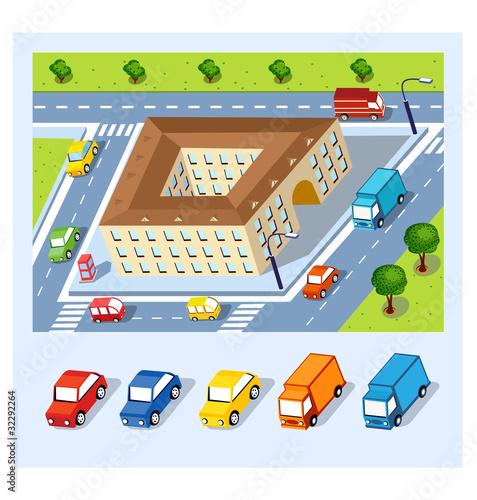 Foto op Plexiglas Op straat Isometric city