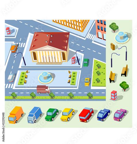 Foto op Plexiglas Op straat Isometric plan