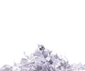Pieces of shredded paper isolated on a white background