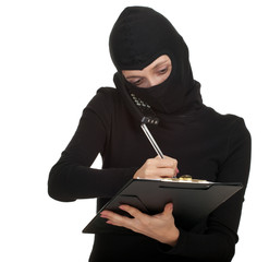 calling young female thief writing on black clipboard
