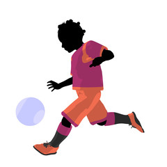 African American Female Tween Soccer Player Illustration Silhoue