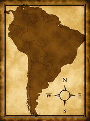 Map of South America on the old background