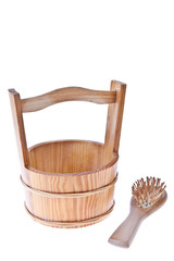 Wooden bucket with brush