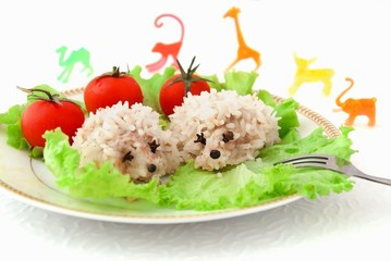 Funny rice hedgehogs with toys, children's food