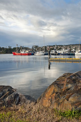 Fishing boats in harbour, St Helens, Tasmania, Australia