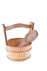 Brush in a wooden bucket