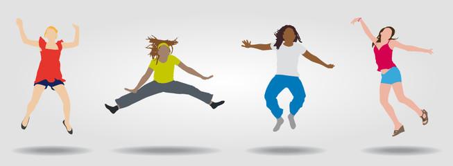 4 femmes sautant - silhouette - énergie - sauter de joie