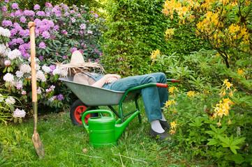 Pause von der Gartenarbeit