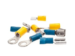 Crimp terminal, or connectors, on white background