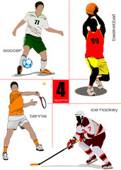Four kinds of sport games. Football, Ice hockey, tennis, soccer,