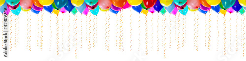 seamless colourful balloons with streamers for party or bithday