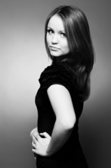 Beautiful young girl, black and white