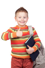 Student child with books saying Ok