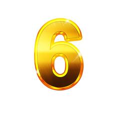 6 - six - chiffre en OR