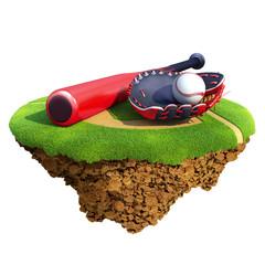 Baseball bat, glove (catcher's mitt) and ball