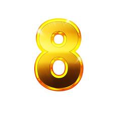 8 - huit - chiffre en OR