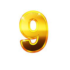 9 - neuf - chiffre en OR