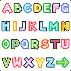 Striped letters alphabet set, easy to change colors