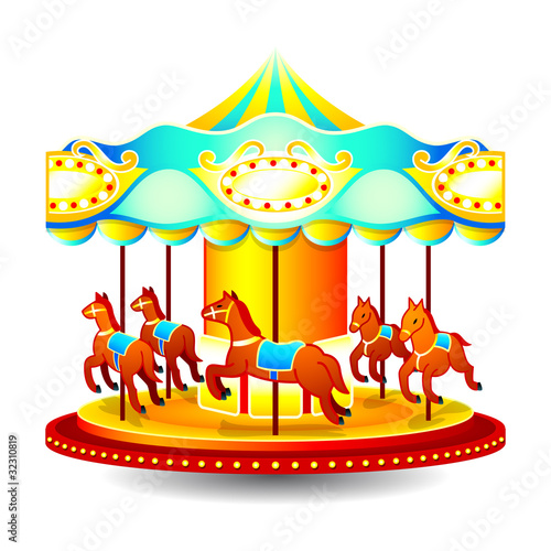 Small classic children merry-go-round with horses - 32310819
